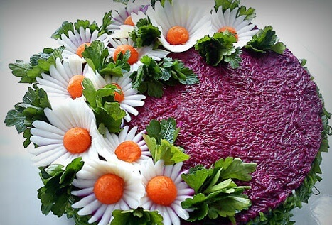 Как украсить салат под шубой
